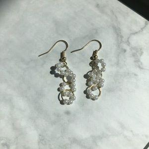 Handmade Gold and Pearl Dainty Dangling Earrings